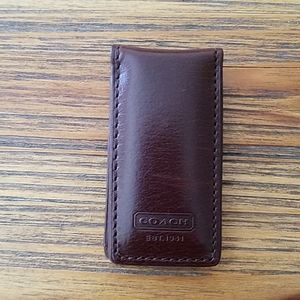 Coach leather magnetic money clip